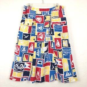 VINTAGE Elastic Waistband Sailboat Midi Skirt